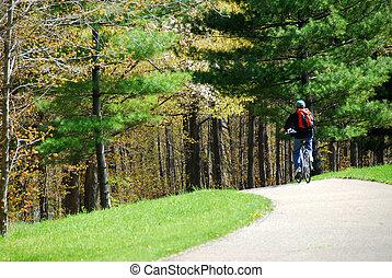 ciclismo, en, un, parque