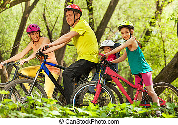 ciclismo, família, esportes, floresta, divertimento, tendo