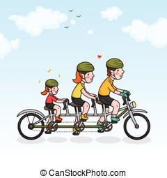 ciclismo, genitori, figlia, famiglia