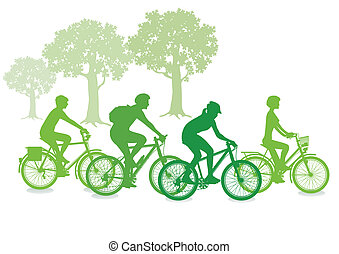ciclismo, in, il, verde