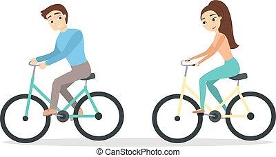 ciclismo, isolado, par.