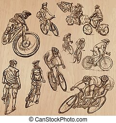 ciclismo, -, mão, vetorial, desenhado, pacote
