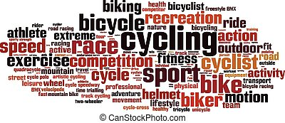 ciclismo, palabra, nube