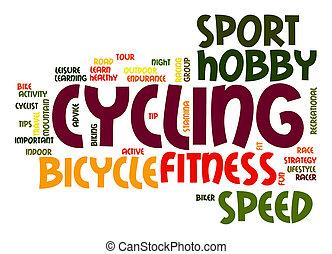 ciclismo, palavra, nuvem