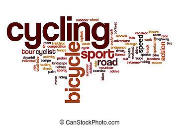 ciclismo, parola, nuvola, concetto