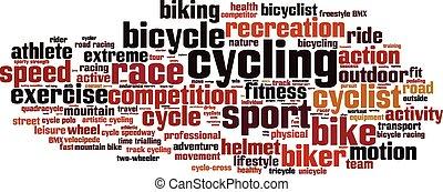ciclismo, parola, nuvola