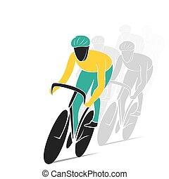 ciclismo, pista, raça, desenho