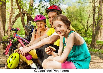 ciclismo, refrescar, família, após, madeira, ativo