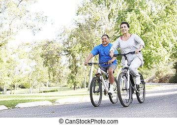 ciclismo, sênior, parque, par