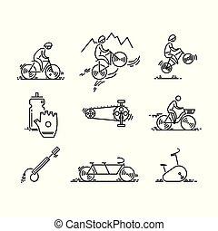 ciclismo, set., icons., bicycle., bicicleta, magra, vector...