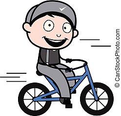 ciclismo, -, trabalhador, ilustração, vetorial, retro, repairman, caricatura