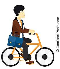 ciclismo, work., homem