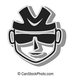 ciclista, óculos de sol, capacete, ícone, vetorial, ilustração