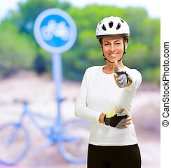 ciclista, actuación, mujer, pulgar up