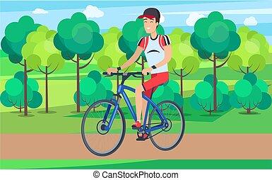 ciclista, azul, sorrindo, bicicleta, ilustração