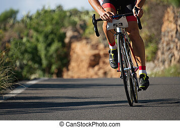 ciclista, bicicleta carrera, ciclismo, hombre, camino, ciclo