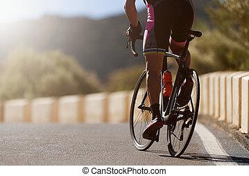 ciclista, bicicleta, ciclismo, camino, hombre