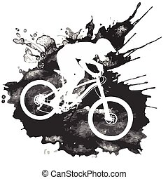 ciclista, bicicleta montanha, silueta, montando