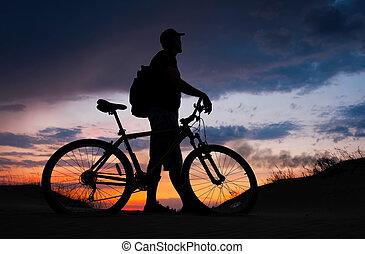 ciclista, bicicleta, silueta, biker, arena, plano de fondo,...