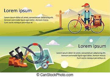 ciclista, bicicletta cavalca, andando gita, e, attrezzatura accampa, bandiere orizzontali, con, spazio, per, testo, natura, estate, paesaggio, viaggiare, concetto, vettore, illustrazioni