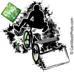 ciclista, bmx, vector, plantilla