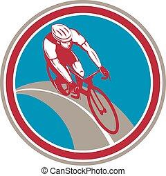 ciclista, círculo, jinete de la bicicleta, retro