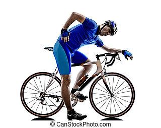 ciclista, cansadas, silueta