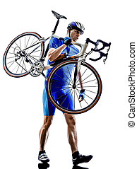 ciclista, carregar, bicicleta, silueta