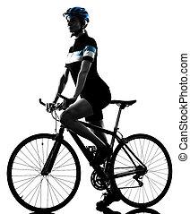 ciclista, ciclismo, bicicleta equitação, mulher, isolado, silueta