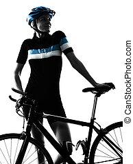 ciclista, ciclismo, bicicleta que cabalga, mujer, aislado, silueta