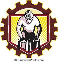 ciclista, ciclismo, diente de rueda de cadena, retro, ...