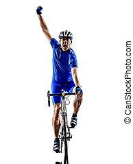 ciclista, ciclismo, estrada, bicicleta, celebrando, silueta