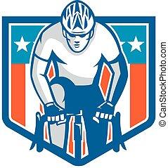 ciclista, ciclismo, protector, norteamericano, retro, bicicleta que cabalga
