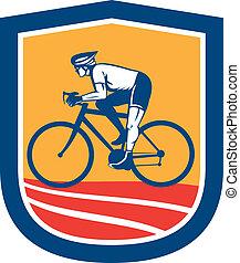 ciclista, ciclismo, retro, bicicleta que cabalga, vista ...