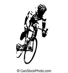 ciclista, ciclismo, vector., camino