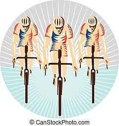ciclista, ciclismo, woodcut, bicicleta que cabalga, círculo