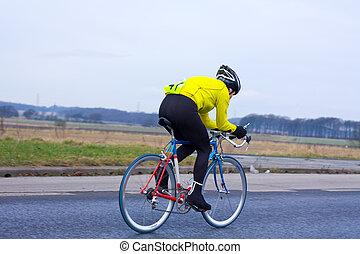ciclista, correndo