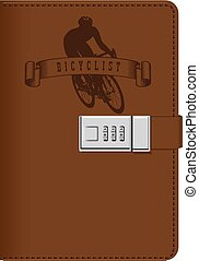ciclista, couro, notepad