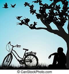 ciclista, debajo, relajante, árbol