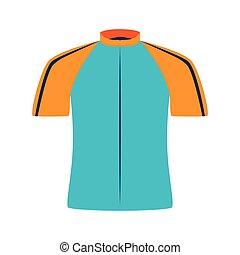 ciclista, desgaste, camisa, ícone, vetorial, ilustração