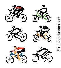 ciclista, drawings., jogo, tinta