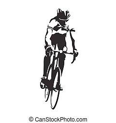 ciclista, el suyo, resumen, bicicleta, silueta, vector, ...