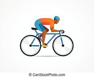 ciclista, equitación, en, bicicleta, vector, ilustración, y, cartel