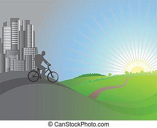 ciclista, hojas, vector, city., ilustración