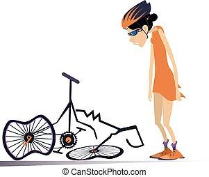 ciclista, ilustración, aislado, roto, mujer, bicicleta
