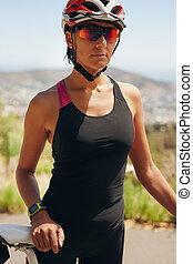 ciclista, -, jovem, femininas, ao ar livre