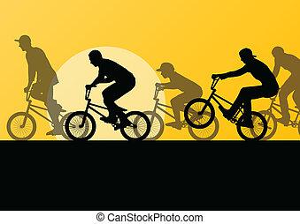 ciclista, jovem, ilustração, silhuetas, vetorial, fundo,...
