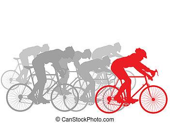 ciclista, líder, ganador, plano de fondo