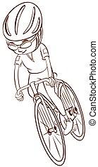 ciclista, llanura, bosquejo