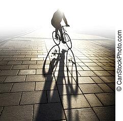 ciclista, luz, tarde, lit, espalda
